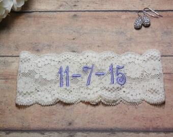 Save the date, Purple Garter, Lavender Garter, Personalized Garter, Custom Garter, Garter, Wedding, Bride, Bridal, Embroidered Garter