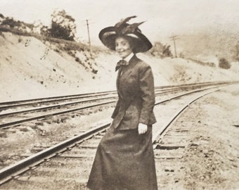 Original Antique Photograph The Railway Woman