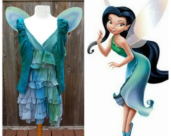 Upcycled Peter Pan Costume, Custom Silvermist Water Fairy Costume (Dress, Shirt and Wings) Tinkerbell and Friends, Youth/Ladies