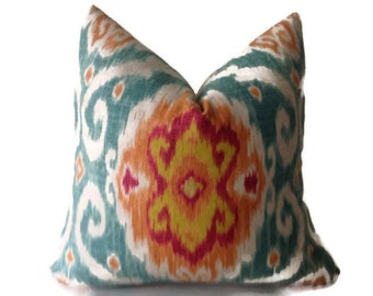 Iman Pillows, Decorative Pillow Turquoise, Green,Fuschia, Yellow Orange Accent  Cushion Covers, Throw Pillows