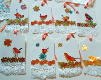 Birdie Gift Tags, Party Favors,Fall Journal Wish PartyTags,8 Decorated Tags Doilies Bird Leaf Stickers, From Glen To Glen