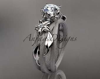 Platinum diamond floral, leaf and vine  wedding ring, engagement ring ADLR253