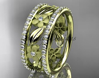 14k  yellow gold diamond flower wedding ring,engagement ring ADLR233