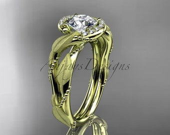 14kt yellow gold diamond leaf and vine wedding ring, engagement ring ADLR65