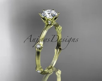 """14k yellow gold diamond vine and leaf wedding ring, engagement ring with """"Forever One"""" Moissanite center stone ADLR38"""