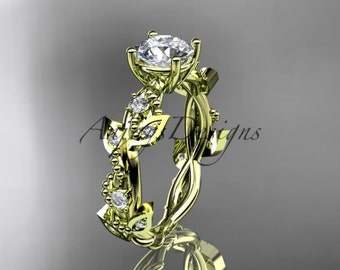 14kt yellow gold diamond leaf and vine wedding ring, engagement ring ADLR59