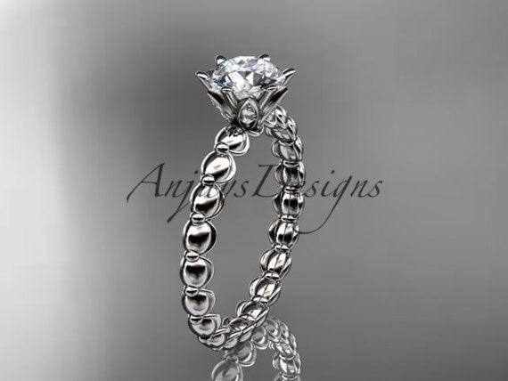 Platinum diamond vine and leaf wedding ring, engagement ring ADLR34