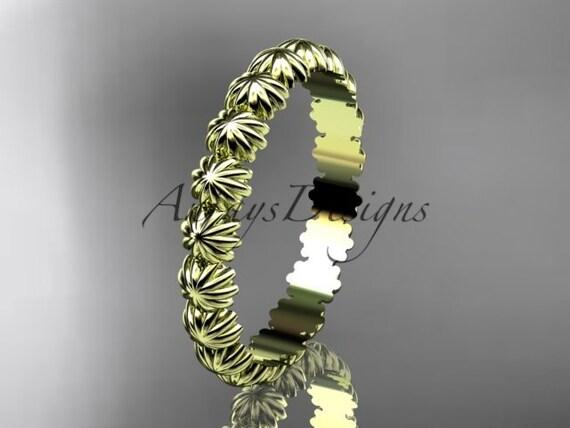 14k yellow gold diamond flower wedding ring, engagement ring, wedding band ADLR42B
