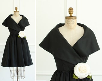 Vintage Victor Costa Designer Black Wrap Dress Worn by Actress Mary Ann Mobley