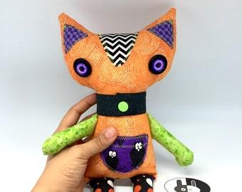 Orange halloween Cat, soft stuffed cat plush, orange and green halloween cat toy decor, stuffed cat for halloween decor, soft cat plushie