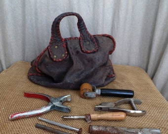 Vintage Leather Craft 8 pc. Tools with Leather Tote Carrying Bag