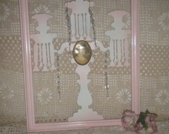 OOAK Metal Up cycled Candelabra Silhouette Wall Hanging,A MUST See, French Country, Pink, Shabby Chic