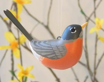 Bird Robin handmade sculpted ornament decoration