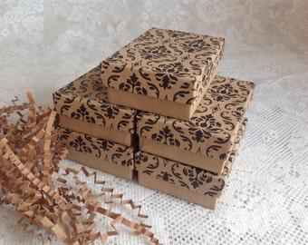 """20 Kraft Damask Gift Jewelry Box- 3 1/4"""" x 2 1/4"""" x 1"""""""