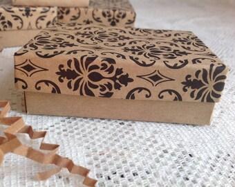 """10 Kraft Damask Gift Jewelry Box - 3 1/4"""" x 2 1/4"""" x 1"""""""