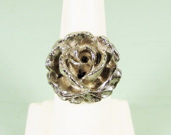 Rose Flower Ring - Vintage Silver Tone Deep Relief Adjustable Band
