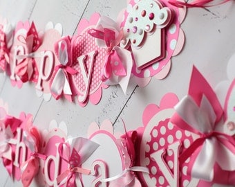 Cupcake Happy Birthday Banner Pink, Light Pink, White