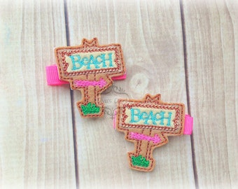 Beach Hair Clip Sign Beach Towel Water Embroidered Felt Hair Clippies. Pick one or two. Pick Left side or Right.