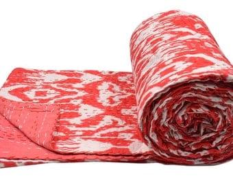 "Cotton Double Kantha Quilt Gudri Reversible Throw 90""x108"" Ralli Bedspread Bedding India S73"