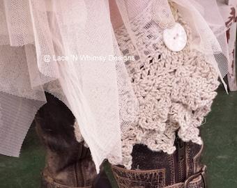 Crochet Pattern Boot Cuffs Adjustable Leg Warmer Fairy Princess Costume Ankle Boot Bracelet Bling Teen thru Plus Size Christmas DIY