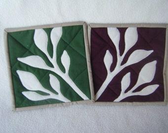 Quilted Botanical Mini Mats, Coasters, Mug Rugs - Set of 2