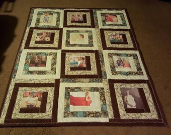 memory 12 photo quilt throw