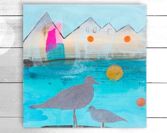 Original acrylic and mixed media painting, wall canvas, wall art - St. Ives seagulls by Suzielou