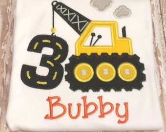 Construction personalized birthday shirt any age