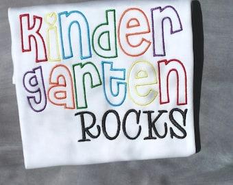 Kindergarten rocks embroidered shirt