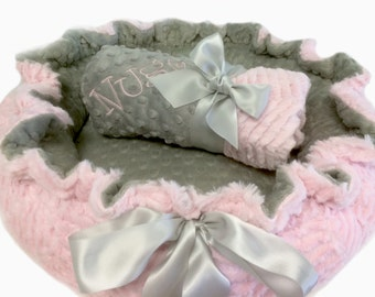 Dog Bed, Pet Bed, Personalized Dog Bed, Baby Pink and Gray Minky Dog Bed, Dog Pet Bed And Blanket Set