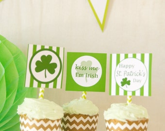 Printable DIY St. Patrick's Day Cupcake Toppers