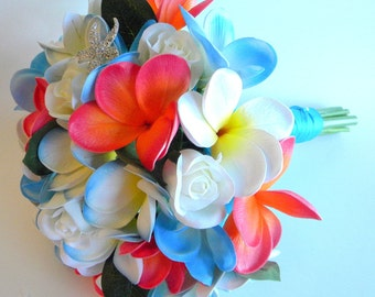 The Morgan Real Touch Plumeria and Velvet Rose Beach  Bridal Bouquet in Guava, Caribbean Blue and White