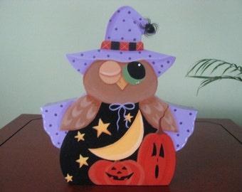 Owl, halloween, witch, pumpkins, moon, starts, spiders, shelf sitter, wood, handpainted