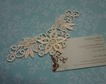 1 Ivory Venise Lace Yokes Collar Appliques for jewelry, bridal, wedding, altered couture, necklaces, bridal by MarlenesAttic - APP111