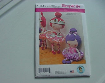 """2014 Simplicity Doll Pattern 1341, Stuffed Doll and Clothes, 22"""" Tall, Uncut, Ballerina, Little Girls"""
