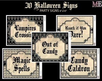 Vintage Halloween Signs, Halloween Party Signs, Classroom Signs, Party Signs, Halloween Decorations, Halloween Signs