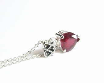 "Ruby (Natural Ruby), 7mm x 7mm x 1.95 Carat, Heart Cut, Sterling Silver Pendant Necklace inc. 18"" Sterling Chain"