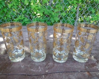 """Culver Chantilly Glasses Set of 4 Gold Flowers Floral Retro Barware Drinking Glasses 5 1/2"""" Tall"""