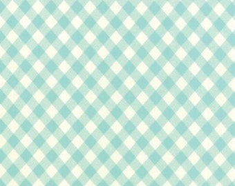 In stock-Vintage Picnic Check Aqua by Bonnie and Camille Basics from Moda -1 yard