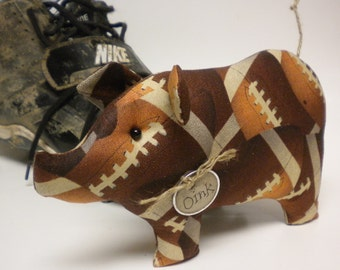 Football Pig - Made To Order, Sports Collectibles, Fall Decor, Primitive Pigs, Country Farmhouse Decor