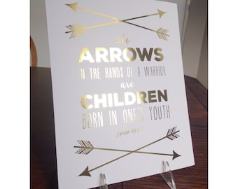 Nursery Decor, Nursery wall art handmade, Bible Verse Wall Art, Gold Foil Print, Arrow print, 8 x10