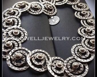Silver Statement Necklace Swirl Necklace Bohemian Jewelry
