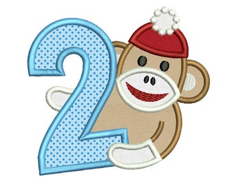 Sock Monkey Boy Happy Birthday Number Applique Embroidery Design HB058