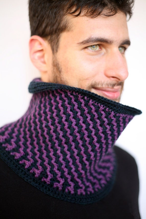 Fierce - Double Sided Handmade Crochet Cowl Neckwarmer in Midnight Blue and Sapphire Purple Merino, inspired by Once Upon A Time