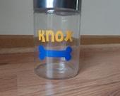Personalized glass dog treat jar