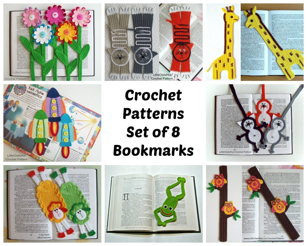 Crochet Stitches Uk Pdf : bookmarks set Amigurumi Crochet Patterns 8 Pdf by LittleOwlsHut