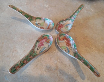 Vintage hand painted  Chinese soup spoons ceramic set of four