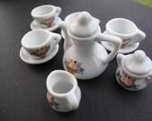 Tiny Tea Set, Dollhouse Miniature, 1:6, Tea Set, Teapot, Creamer, Sugar Bowl, Cups and Saucers, Set for Four,