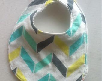 Chevron Gender Neutral Baby/Toddler Bib, Baby Shower Gift for Boy or Girl