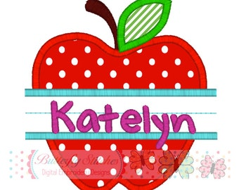 Apple Hand Writing Back To School Digital Machine Embroidery Appliqué Design
